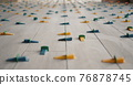 Ceramic tiles, just laid on the floor, in the form of boards, fixed with a leveling system 76878745