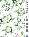 Elegant, vector, watercolor floral seamless pattern, wallpaper, background decorative texture. Light yellow white roses, camellia flowers, greenery eucalyptus, green fern leaves, natural herbs bouquet 76887044