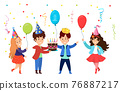 Young character kid celebrate birthday party, children hold birth cake, congratulation child flat vector illustration, isolated on white. 76887217