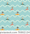Vintage Surfing People on Waves Seamless Pattern 76902134