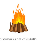 Fireplace campfire. Burning fire travel and adventure symbol. Vector bonfire or woodfire in cartoon flat style. A tourist bonfire in the form of stack hut pyramid well blazing with yellow-red fire 76904485