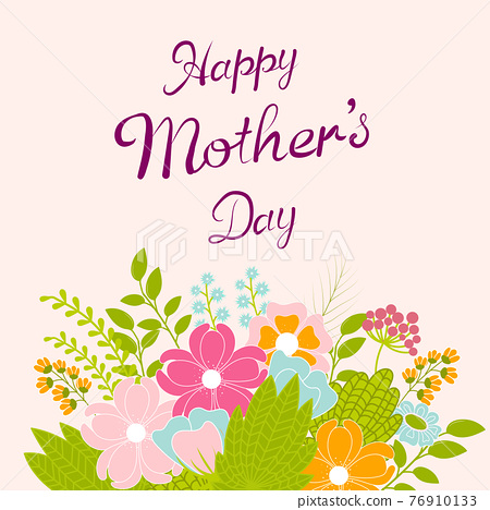 Vector floral greeting card for mother's day 76910133
