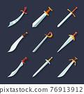 Sword icon flat 76913912