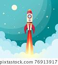 Space rocket print 76913917