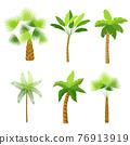 Decorative palm trees icons set 76913919