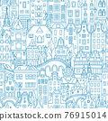 Blue Seamless pattern, Amsterdam typical dutch houses 76915014