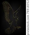 Golden border tattoo , Hawk flying over black background 76918352