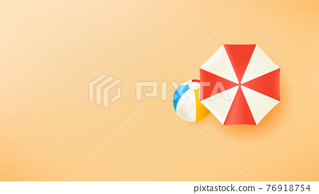 Umbrella and beach ball on a sand. Hot Banner with copy space ready for a text 76918754