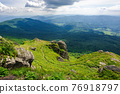 view from pikui mountain. huge stones on the grassy slopes. summer landscape of carpathian mountains. borzhava ridge in the distancee beneath a sky with clouds 76918797