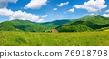rural landscape with field and pasture on the hill. beautiful countryside scenery in mountains. sunny summer weather with fluffy clouds on the sky 76918798