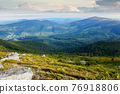 landscape of carpathian mountains. stones on the hill. view in to the distant valley. clouds on the sky in morning light. wonderful travel destination 76918806