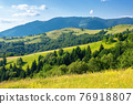 rural landscape in summer. beautiful nature scenery with fields on the hills rolling in to the distant valley. wonderful sunny weather with fluffy clouds on the sky 76918807