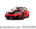 Red generic unbranded sport car accident 76920280