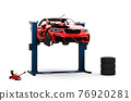 Red generic sport unbranded damaged car on lift 76920281