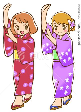 봉오도리, 일본 전통춤, 유카타 76930688