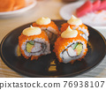 California roll and cut served in black plate. 76938107