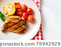 grilled and barbecue fillet pork steak with vegetable 76942929