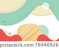 Banner web template abstract green organic fluid shape with circle line pattern on white background. 76946926