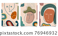 Set of template background abstract hand drawn face line and various shapes doodle objects contemporary modern trendy style 76946932
