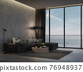 Minimal loft style living room with sea view background 3d render 76948937