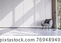 Minimal style living room decorate with modern gray lounge chair 3d render 76948940