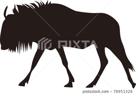 gnu, wildebeest, silhouette 76951326