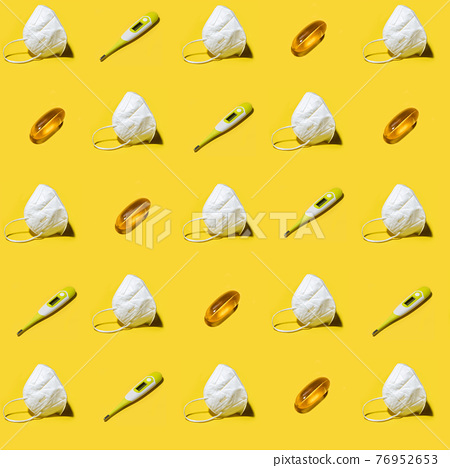 White medicine respirator KN95 mask pattern over yellow 76952653