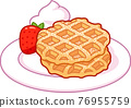 Cartoon Belgian waffles drawing 76955759