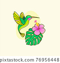 Funny colorful hummingbird flying near the flower. 76956448