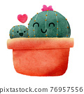 Cactus Mom with Her Child in The Same Plant Pot 76957556