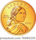 Vector American Sacagawea dollar gold coin 76960205