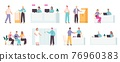 Bank employees and clients. Financial office managers, consulting and reception service, counter for customer and cashier window, vector set 76960383