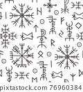 Futhark runes seamless pattern. Norse viking occult symbol design. Iceland esoteric and magic old runic signs. Ancient nordic vector texture 76960384