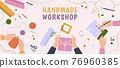 Creative craft workshop. Desk top view with hands work on handmade hobby, knitting, diy gifts and painting. Art crafts class vector banner 76960385