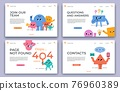 Landing web pages. Join our team, hiring, QA online support service, 404 error and contact website page with abstract characters vector set 76960389