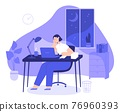 Woman work late at night. Tired female freelancer busy at computer overnight in home office with desk. Employee overtime work vector concept 76960393