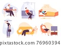 Sleepy people. Tired, lazy and sleeping man and woman at home, in bed, in transport, office worker. Bored and burnout adults flat vector set 76960394