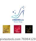 Elegant lady shoe logo design 76964129