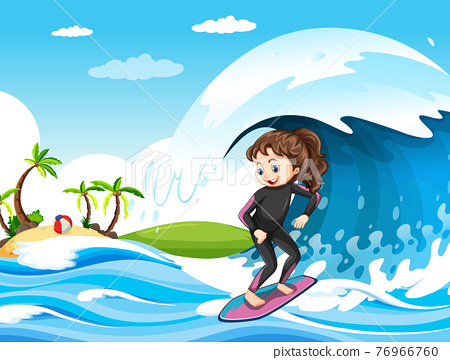 Big wave in the ocean scene with girl standing on a surf board 76966760