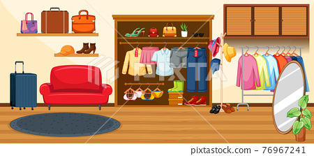 Fashion clothes store background 76967241