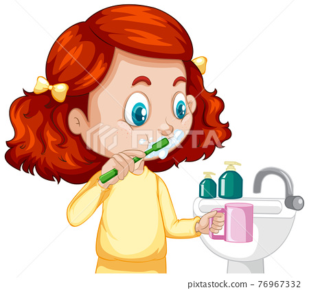 A girl cartoon character brushing teeth with water sink 76967332