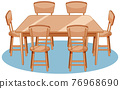 A set of dining table and chairs on white background 76968690