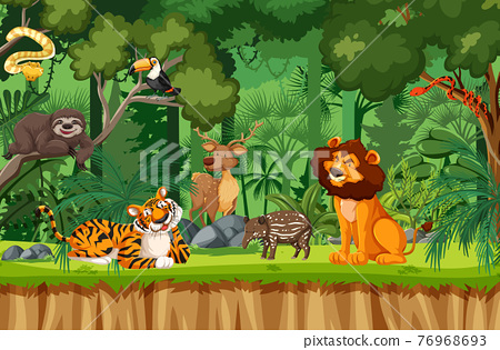Wild animal cartoon character in the forest scene 76968693