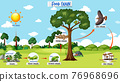 Food chain diagram concept on forest background 76968696