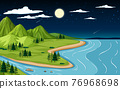 Nature landscape scene with mountain and river at night time 76968698