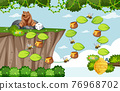 Game template with grizzly bear and bee on forest background 76968702