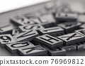 letterpress alphabet and number background 76969812