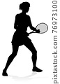 Tennis Player Woman Sports Person Silhouette 76973100
