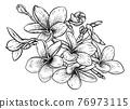Tropical Plumeria Frangipani Bali Flower Woodcut 76973115