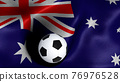 3D rendering of the flag of Australia with a soccer ball 76976528